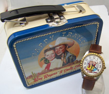 Roy Rogers Dale Evans Fossil Watch set with Bolo and Lunch Box Tin