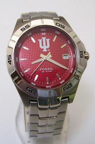 Indiana Hoosiers Fossil Watch Mens Three Hand Date Wristwatch NEW