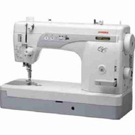 Janome 1600P-QC: A portable straight stitch Professional Quilting & Sewing Machine. The 1600P has an all metal hook and bobbin case, a durable combination for reliable production. Fast speeds and smart design make the Janome 1600P-QC the perfect machine for a sewing room production machine and quilting! You'll find everything you need to finish projects quickly and easily. Speeds of 1,600 stitches per minute make this the fastest machine on the market; nearly 9 inches x 6 inches to the right of the needle gives an extra wide work area; the side-loading bobbin allows for easy access, even from a quilt frame; the automatic thread cutter cuts top and bobbin thread at the push of a button; and the ergonomic knee lift offers a full range of adjustment so you can find the size that fits you.