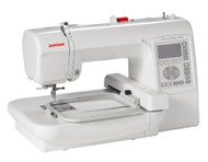 Janome's entry level embroidery machine. Personalize your life! The 200E makes it easy to add professional-style embroidery to garments, accessories, home dec items and more! Transform everything in your home to something uniquely yours. Simply snap in the hoop and press a key. Use the USB port to transfer designs from your computer, and enjoy features that make embroidering easy, like the built-in needle threader. Forget designer goods, the 200E makes it truly affordable to customize your world!