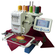 """MB4 is a portable 4 needle embroidery machine. This model has a plethora of accessories and software options. """"World's First"""" Home-Use Four-Needle Embroidery Machine. We've taken everything you love about Janome embroidery and quadrupled the capacity! With our four needle machine, you can set up your embroidery and move on to other projects while the MB-4 gets it done. The MB-4 is built to work with most embroidery formats, including those used by industry professionals. It is compatible with six industry-standard Tajima hoops, as well as the four available Janome hoops to further expand your creative opportunities."""
