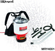 Royal manufactures an efficient and ergonomic Back Pack Cleaning System featuring a patented Hypercone Technology to deliver maximum power the entire time during the cleaning job. This back pack meets the enhanced cleaning standards of the Carpet and Rug Institute (CRI). Includes 1-1/2 in. attachments: 52 in. positive locking hose, 57 in. two-piece two-bend aluminum wand with button lock, 17 in. crevice tool, 14 in. floor tool, 14 in. all-purpose floor tool, 2-1/2 in. dusting brush, 5 in. upholstery tool and adapter.