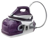 "Rowenta DG8520 Save on dry cleaning bills with this pressure iron & steamer. The versatile unit features an extra-large removable tank that accommodates 1½ hours of continuous ironing. Constant, high-powered steam is available at the touch of a trigger -- the powerful steam makes ironing fast and effortless. With exceptional 4.8 bars of pressure and a vertical steam feature, the unit is also perfect for removing wrinkles from hanging garments or drapes. A precision tip allows for easy smoothing of between collars and pockets. The unit heats up in 2 minutes and boasts an eco setting that saves up to 20% of energy. Other notable features include an anti-scale system, empty tank and ""rinse the boiler†indicators and a comfort grip handle. A locking system ensures safety and easy storage.  Capacity: 1½ quart/1.4 litre tank"
