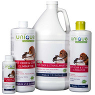 "Unique Pet Odor and Stain Eliminator 20oz ""Ready to Use"". Eliminates pet odors and stains from carpet and upholstery. Unique's formula is perfectly safe and can be applied directly out of the bottle. It's enzyme active and bacterial safe, eliminates odors, stains and disinfects."