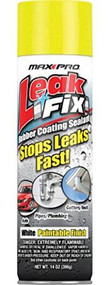 Leak Fix is an easy to use rubber coating sealant that coats seals and protects against water leaks. When sprayed onto a surface the rubberized liquid seeps into cracks and holes to stop leaks fast. One can of Leak Fix can treat 2-8 square feet depending on the coating thickness needed. Once dry the area sprayed can be painted any color. Leak Fix forms a watertight flexible coating that will not drip crack peel or sag for years. Leak Fix can be top-coated with latex or oil based paints.