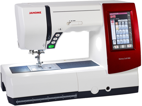 """Upgradeable computerized sewing/embroidery with touch panel LCD display. Comes with three different color faceplates for machine customization. Features 200 stitches and 6 buttonholes and 2 alphabets that can make stitches up to 9mm in width. Includes 175 built-in embroidery designs and 3 fonts with a maximum embroidery size of 6.7"""" x 7.9"""" and embroidery speeds to 800 SPM. Jump thread trimming, USB connection, 11 sewing standard presser feet, Cloth guide, Knee lift, Instruction book, Semi-hard machine cover, extra-large foot control, and semi-hard embroidery unit case included."""