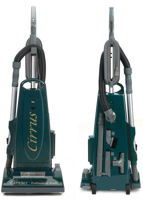 """The Cirrus upright model CR79 comes standard with on-board attachments. Never be delayed in search for an attachment again! The on-board stretch hose, and the telescoping wands give you a 10 ft. reach, allowing you to easily vacuum those hard to reach places. Other on-board attachments include: Natural hair dusting brush, upholstery tool, and crack and crevice tool. Along with the on-board attachments, you may still use the separate deluxe attachment set for doing stairs or above the floor cleaning. Features:   * 1300 Watt Single Fan Motor   * Electrostatic Filter (Upgradable to HEPA)   * 33' Power Cord   * Metal Handle, Metal Bottom Plate, 14"""" Metal Brushroll   * Quickdraw Tools On Board W/Metal Telescopic Wand 2 Year warranty US Warranty: 2 years Motor, 1 year Parts"""