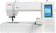 "Upgradeable computerized embroidery machine featuring 160 build in designs, 6 fonts for monogramming, 7.9'x7.9"" maximum embroidery size, 860SPM embroidery speed, USB for easy transfer of designs, programmable jump thread trimming, direct jump to desired stitch, full color LCD touchscreen, built-in advanced needle threader, adjustable hoop positioning, bobbin thread sensor and on-screen editing functions. Dust cover and one hoop included."