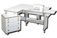 HORN 51 CADDIE pictured with Horn 5180 cabinet. Available in Sunset Oak, White with Oak trim or Beech.