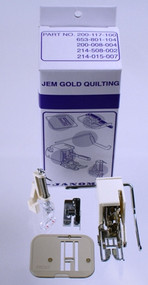 """Quilting Attachment Kit for Janome Jem Series. Kit Includes:  003200311003 (Low Shank Even Foot and Quilting Bar) 003200318000 (¼"""" Seam Foot) 003941630000 (Low Shank Darning Foot) 003653801104 (Plastic Darning Plate) Instructional Sheet Use with:639 Jem, 660 Jem, 661 Jem Gold, 662 Jem Silver, 665 Jem III, HF3125, HF3128, 3128, HF106, HF107"""