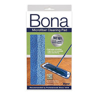 "Bona® Cleaning Pad  This efficient cleaning pad may be used dry to attract dirt, microparticles and common household allergens or wet for effective, non-toxic washing. Cleaning pad was specifically designed to fit the Bona Microfiber Mop. Measures 4"" W x 15"" L. Machine washable up to 300 times."