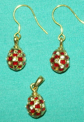 RED & GOLD FABERGE HANDCRAFTED RUSSIAN EGG CHARM & EARRINGS #2676
