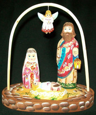 LOVELY HANDCARVED & HANDPAINTED RUSSIAN NATIVITY BABY JESUS & FLYING ANGEL #0574