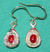 FANTASTIC RED & SILVER FABERGE RUSSIAN EGG EARRINGS w/ WHITE CRYSTALS #2677