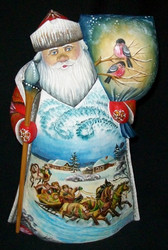 Russian Santa Claus - Handpainted Traditional Troika w/ Red Bullfinches #2394