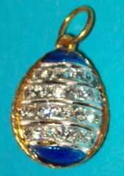 REGAL Russian Faberge Egg Charm - BRIGHT BLUE & GOLD w/ WHITE CRYSTALS #1790
