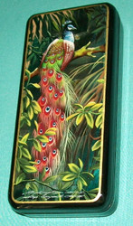 RUSSIAN HAND PAINTED BRIGHTLY COLORED PEACOCK MOTHER OF PEARL LACQUER BOX #0110