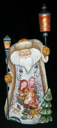 STUNNING SCENIC HAND PAINTED SANTA CLAUS - CHILDREN PLAYING IN THE SNOW #0946