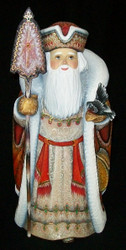 WOW! BRIGHT RED & GOLD RUSSIAN SANTA w/ HAND PAINTED BEADED CLOAK & BIRD #2027