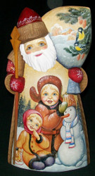MARVELOUS RUSSIAN HAND PAINTED SANTA CLAUS w/CHILDREN BUILDING SNOWMAN #7741