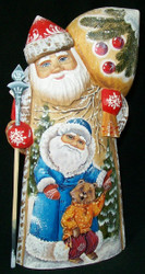 MARVELOUS RUSSIAN HAND PAINTED SANTA CLAUS w/TRADITIONAL RUSSIAN BEAR #4571