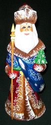 Hand Painted Red & Gold Russian Linden Wood Santa Claus w/ Mail Satchel #4707