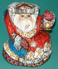 MARVELOUS BRIGHTLY COLORED HAND PAINTED RUSSIAN SANTA ON ROCKING CHAIR #5839