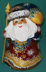 RUSSIAN GOLDEN STOOPED HANPAINTED SANTA CLAUS #5450 - GRANDFATHER FROST