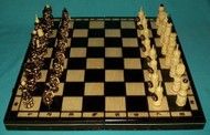 LOVELY HAND CARVED & HAND STAINED RUSSIAN CHESS SET #0013