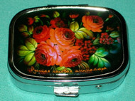BEAUTIFUL ORANGE FLORAL BOUQUET ON RUSSIAN PILL BOX #1302