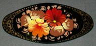 AUTUMN COLORED FLORAL HAND CRAFTED RUSSIAN PAPIER MACHE BARRETTE #3182