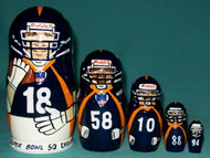 Denver Broncos SUPER BOWL 50 CHAMPIONSHIP TEAM 5pc Nesting Set w/ MANNING & WARE