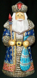 MAGNIFICENT BLUE, RED & GOLD HAND PAINTED RUSSIAN SANTA - OLD WORLD SANTA #0591