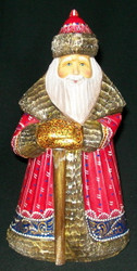 DELIGHTFUL RED & BLUE HAND PAINTED RUSSIAN SANTA CLAUS w/ RUSTIC STAFF #7214