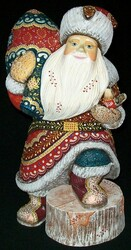 SANTA HANDPAINTED WITH BRIGHTLY COLORED CLOAK ON STUMP w/BIRD #5776