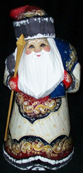 HAND PAINTED WHITE, RED, BLUE & GOLD RUSSIAN SANTA / GRANDFATHER FROST #7147