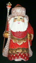 Hand Painted Red & Gold Russian Santa #7545 – Hand Carved Wooden Statue