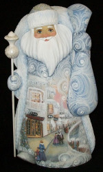 UNBELIEVABLE SCENIC HAND PAINTED SANTA CLAUS #8021 w/ VICTORIAN CHRISTMAS SCENES