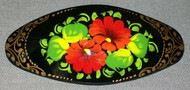 BRIGHTLY COLORED RUSSIAN HAND PAINTED RED FLORAL PAPIER MACHE BARRETTE #3181