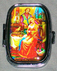 BRIGHTLY COLORED RUSSIAN FAIRY TALE PILL BOX - THE GOLDEN BIRD #1314