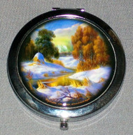 AUTUMN COLORS ON RUSSIAN COMPACT / MAKE UP MIRROR w/ HAYSTACK #0003