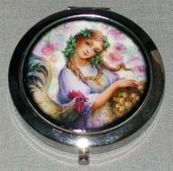 PASTEL COLORED FLOWERS w/ LOVELY MAIDEN & COCKEREL ON COMPACT MIRROR #0021