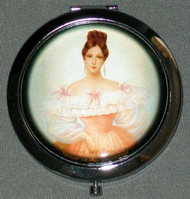 ELEGANT VICTORIAN MAIDEN ON RUSSIAN COMPACT MIRROR #0023