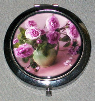 LAVENDER ROSES ON RUSSIAN COMPACT MIRROR #0027