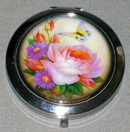 BRIGHTLY COLORED FLORAL BOUQUET w/ BUTTERFLY ON RUSSIAN COMPACT MIRROR #0030