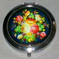 BLUE FLORAL BOUQUET ON RUSSIAN COMPACT MIRROR #0035