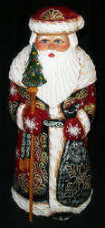Russian Hand Carved & Painted Golden Uzor Santa w/ Bright Red Cloak #6234