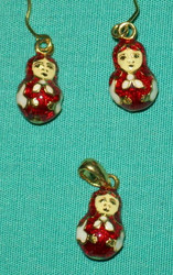 Fun Matryoshka Nesting Doll Shaped Earrings & Charm #8497