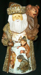 LOVELY RUSSIAN HAND PAINTED SCENIC SANTA CLAUS w/ LITTLE BEAR #1228
