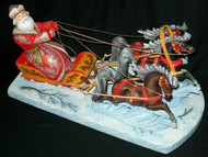 WOW! VERY DETAILED HAND CARVED TROIKA - SANTA'S SLEIGH PULLED BY 3 HORSES! #1905